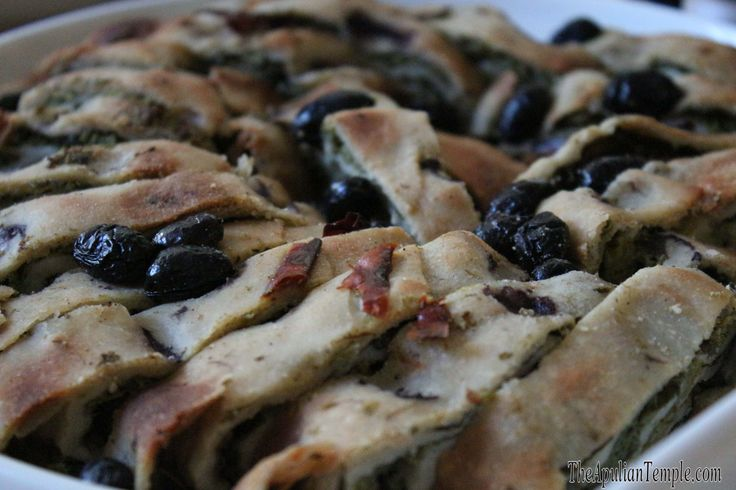 barley flour focaccia bread with rapine and black olives