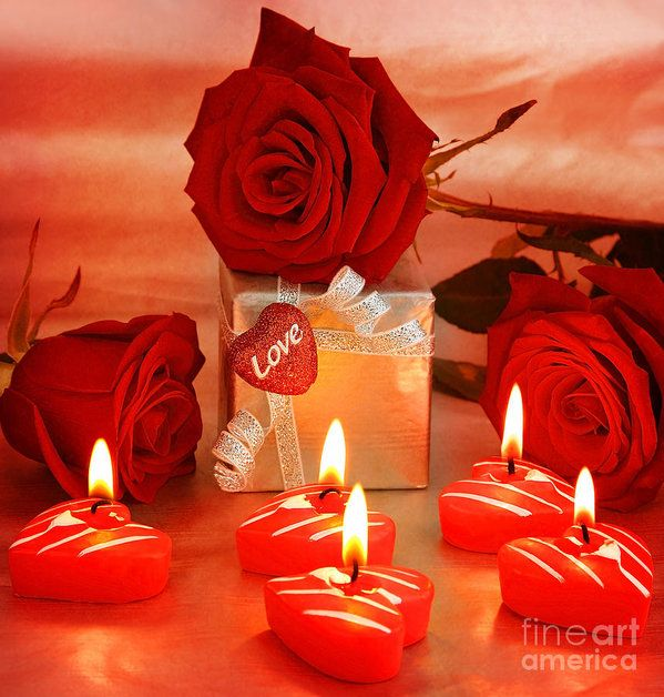 Beautiful Roses With Gift Box And Heart Art Print By Anna Om Beautiful Roses Candles Romantic Gifts