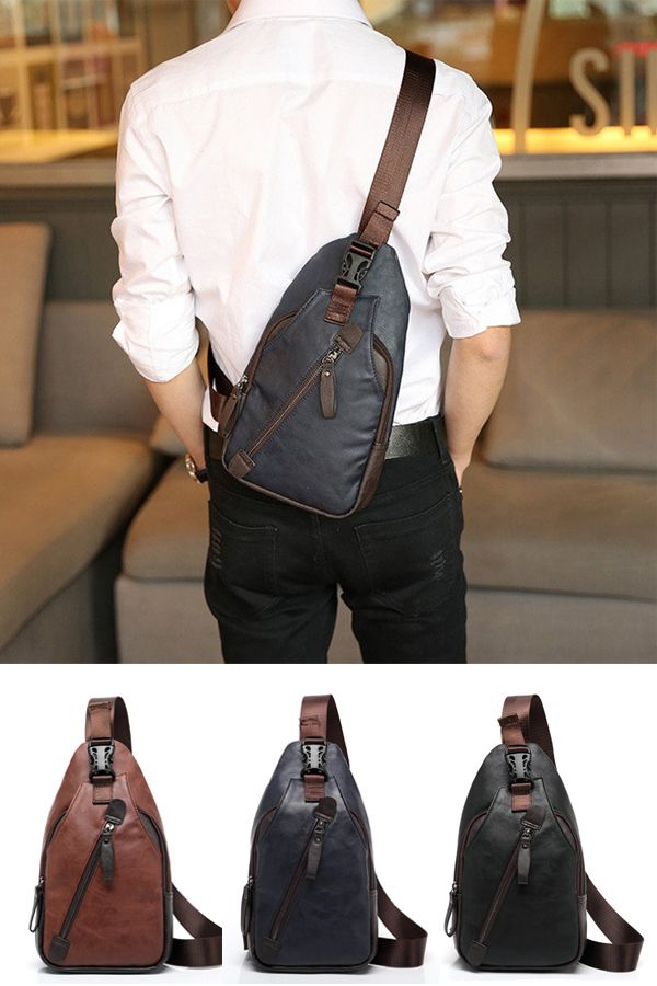 $14.94 Men Retro PU Leather Crossbody Bag Capacity Leisure Shoulder Chest Bag…