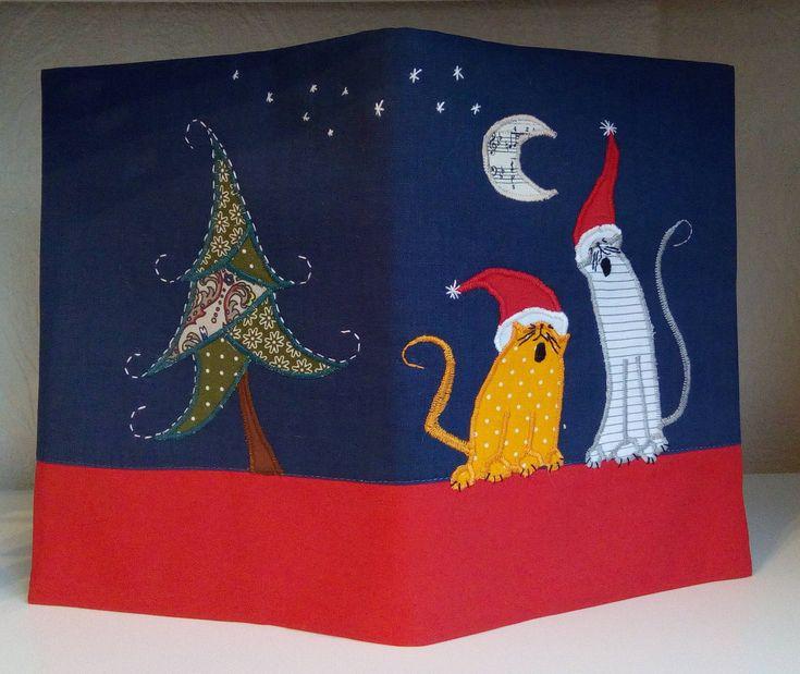Christmas concert 2, Fabric book cover, Applique, Handmade, Hand Embroidery