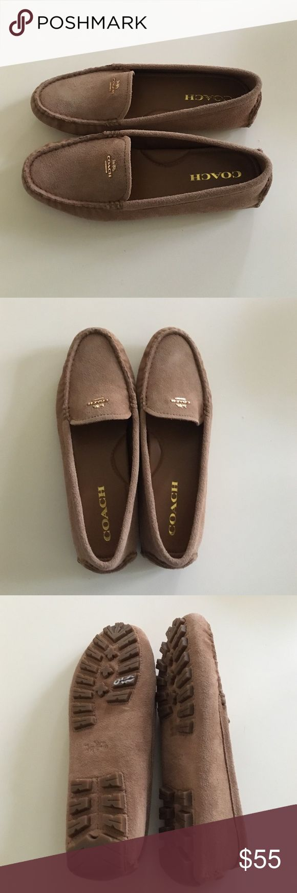 Authentic Coach suede loafers size 8b This is a pair of authentic brown suede Coach loafers with gold letters, never worn Coach Shoes Flats & Loafers