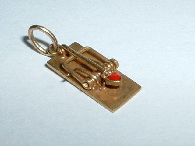 VINTAGE 14K YELLOW GOLD 3D MOVEABLE HEART MOUSETRAP CHARM #Charm