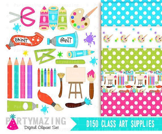 Art Class ClipArt, Set, Cute Nursery, Clip art Set with Digital Paper Pack -D150