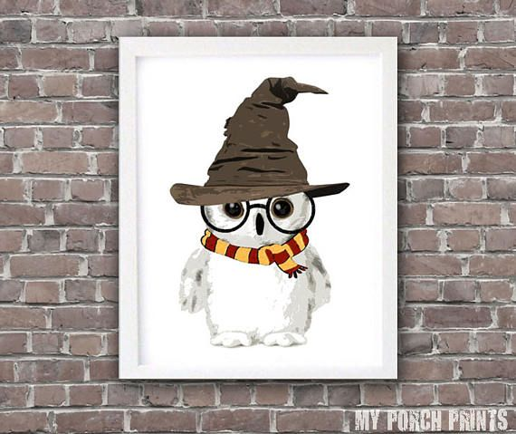 Wizard Baby Owl, Nursery Art, Harry Potter Baby, Hedwig, Mother's Day gift, Harry Potter baby shower, gift idea, Harry Potter nursery decor