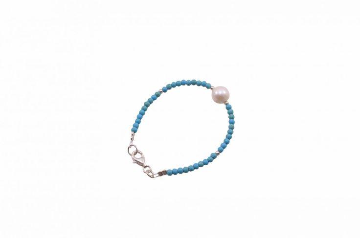Βραχιόλι με χαολίτη και μαργαριτάρι - Bracelet with howlite and pearl