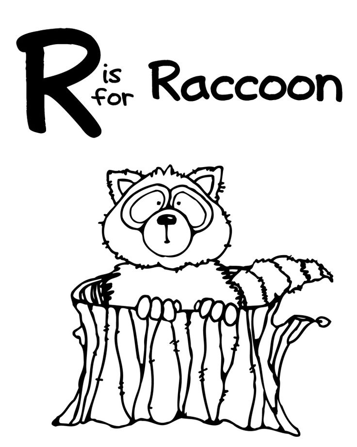 Letter r rhinoceros and raccoon coloring home pages