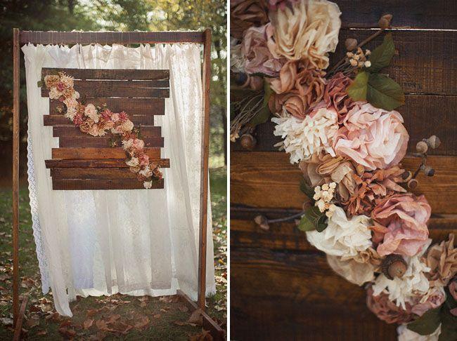 Cascading flower wood palette altar - Nature themed winter wedding inspiration captured by Love Is a Big Deal - via greenweddingshoes