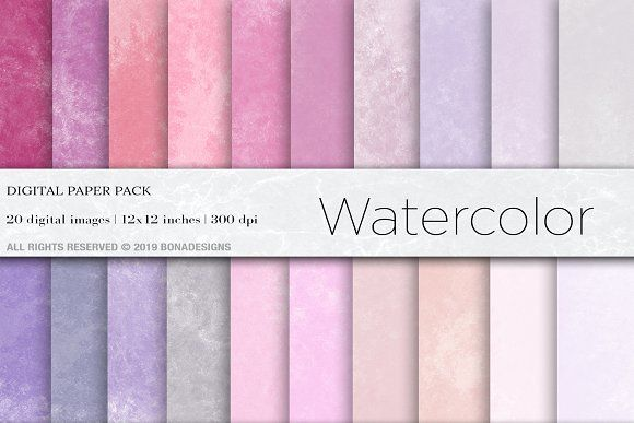 Textured Paper For Wedding Invitations: Watercolor Digital Papers,Background By BonaDesigns On