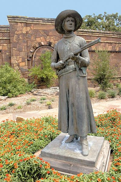 Jo Mora's life-size statue of Belle Starr rests outside the Woolaroc Museum near Bartlesville, Oklahoma.