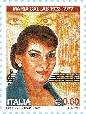 Maria Callas auf Briefmarke aus Italien von 2007