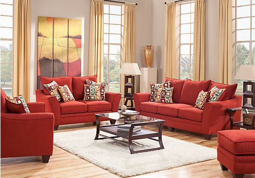 Shop For A Santa Monica Red 7 Pc Living Room At Rooms To