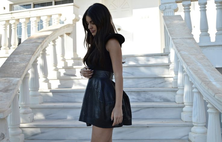 Total black look with leather perforated leather skirt by TheSisEffect