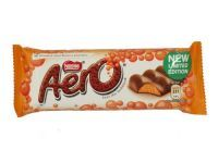 £0.45 - Nestle Aero Bubbly Orange Chocolate Bar 40g    Feel the bubbles. No artificial colours, flavours or preservatives. Smooth milk chocolate filled with orange flavoured bubbles