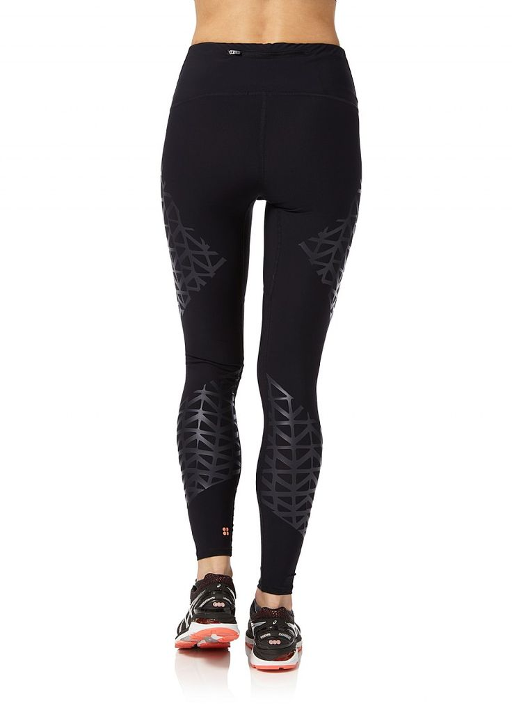 Run longer. These black run leggings feature targeted muscle compressing benefits, perfect for long distance running.