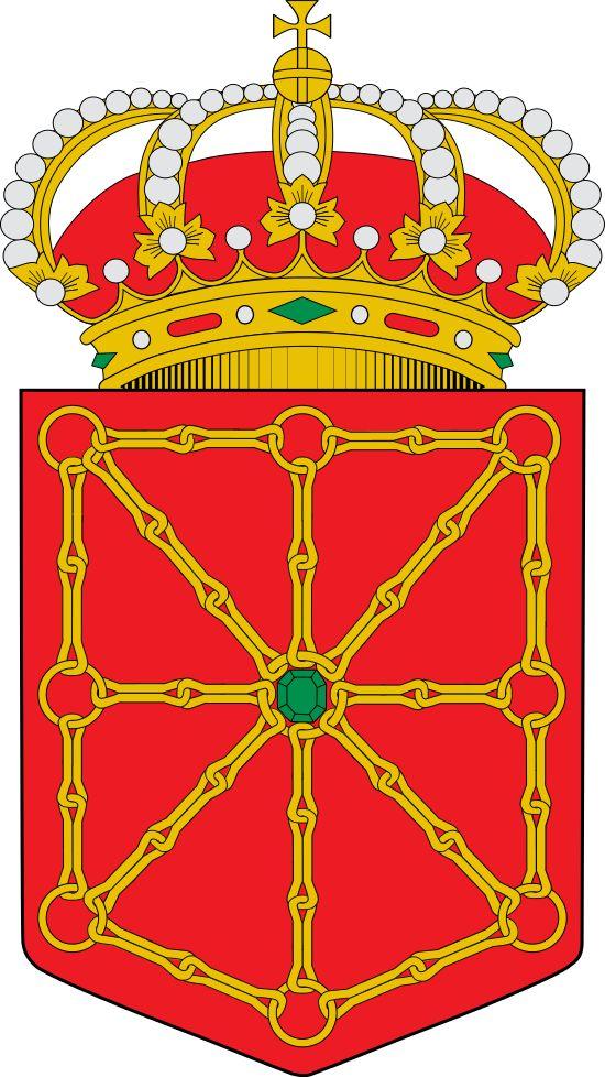 Escudo de Navarra (oficial) - España - Navarra (en euskera: Nafarroa), denominada oficialmente Comunidad Foral de Navarra (en euskera: Nafarroako Foru Komunitatea), es una comunidad foral española situada en el norte de la Península Ibérica. Limita al norte con Francia (departamento de Pirineos Atlánticos), al este y sureste con la comunidad autónoma de Aragón (provincias de Huesca y Zaragoza), por el sur con la de La Rioja y por el oeste con la del País Vasco (provincias de Álava y…
