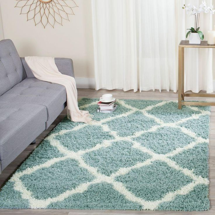 Safavieh Dallas Shag Seafoam/Ivory 8 ft. x 10 ft. Area Rug