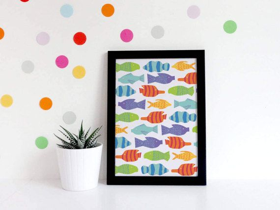 Nursery Prints Girls  Mermaid Nursery Decor  Fish Nursery