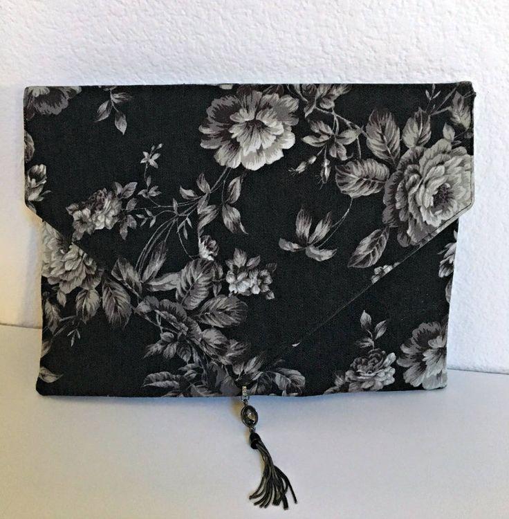 Denim Clutch Bag, Date Night Clutch, Boho Clutch, Evening Clutch, Black and Silver Rose Purse, Retro Clutch Bag, Digital Print Clutch