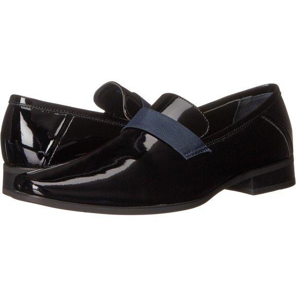 Calvin Klein Bernard (Black/Dark Navy Patent/Nylon) Men's Shoes ($49) ❤ liked on Polyvore featuring men's fashion, men's shoes, men's dress shoes, black, mens patent leather formal shoes, mens black shoes, mens formal dress shoes, mens black patent shoes and mens dress shoes
