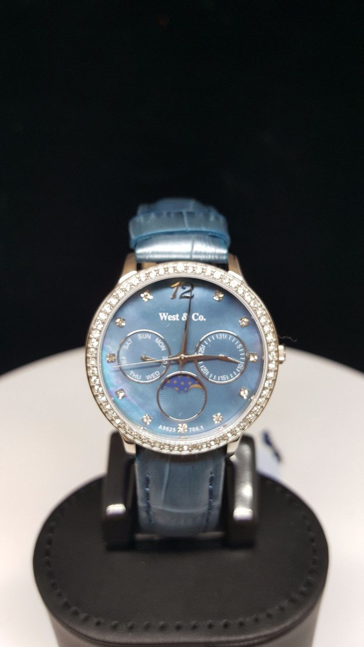 West and Company Blue Swarovski Crystal Night and Day Ladies Watch