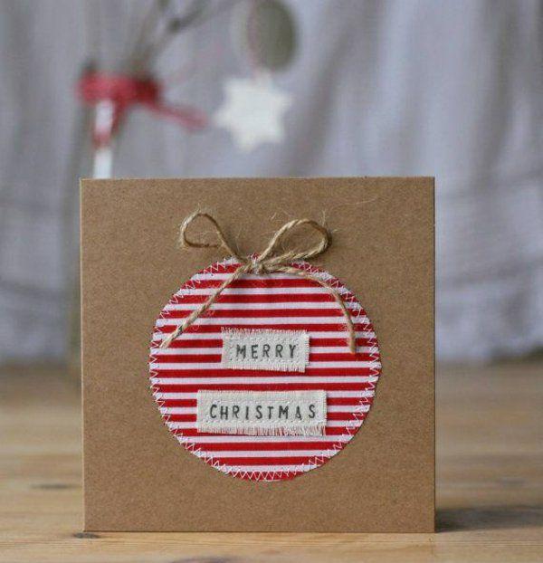 weihnachtskarten basteln mit papier und stoff