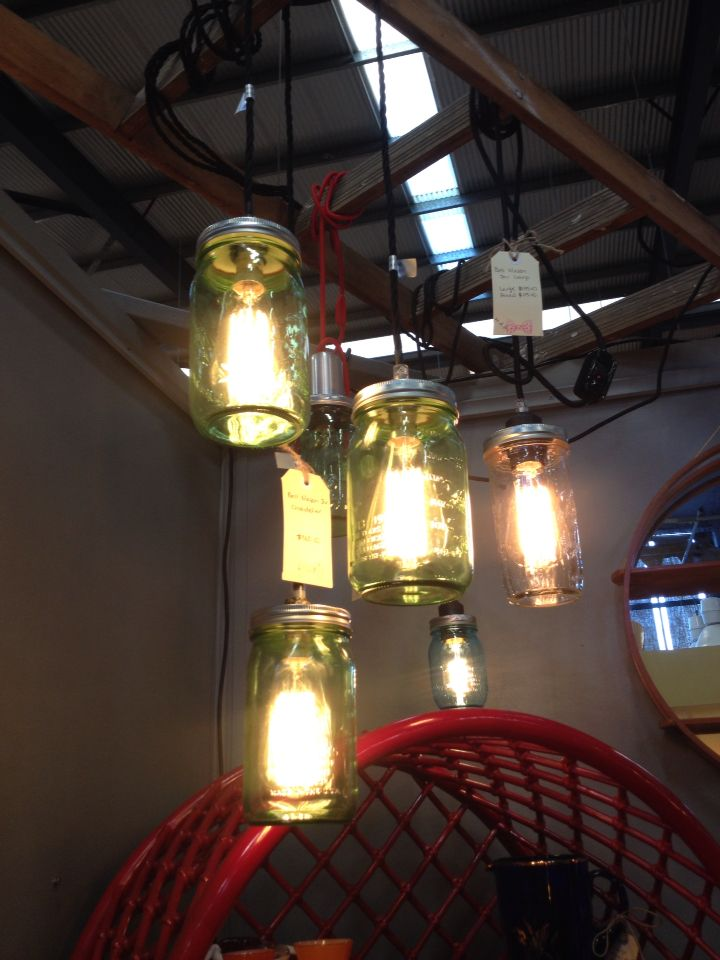 Industrial ball mason pendent lights/lamps.