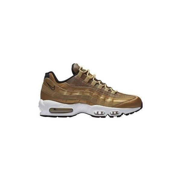 Nike Air Max 95 Premium QS Metallic Gold Shoes (Trainers) ($325) ❤ liked on Polyvore featuring men's fashion, men's shoes, men's sneakers, men, multicolour, shoes, trainers, mens shoes, nike mens shoes and colorful mens shoes