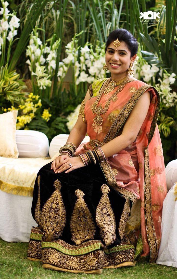 Telugu bride Tamil bride Kanchivaram Saree Heavy Bridal Jewellery Bridal Lehenga