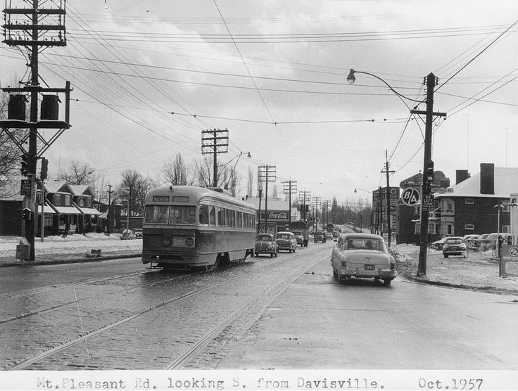 Mount Pleasant Road, looking south from Davisville, 1957, Toronto.