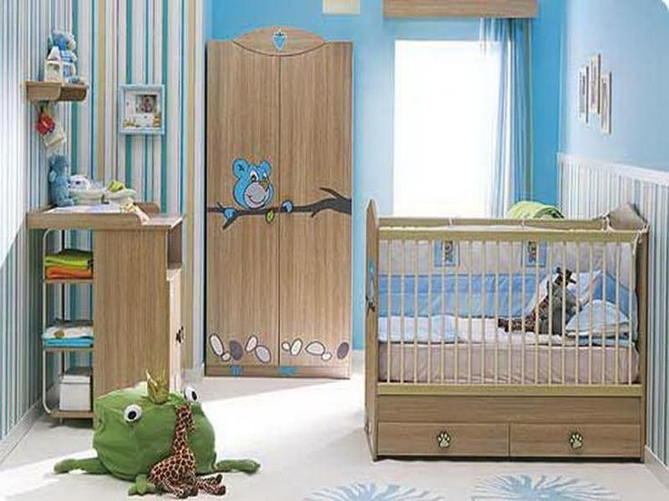 Awesome baby boy room with wood cupboard and blue painting concept - http://homeides.com/awesome-baby-boy-room-with-wood-cupboard-and-blue-painting-concept/