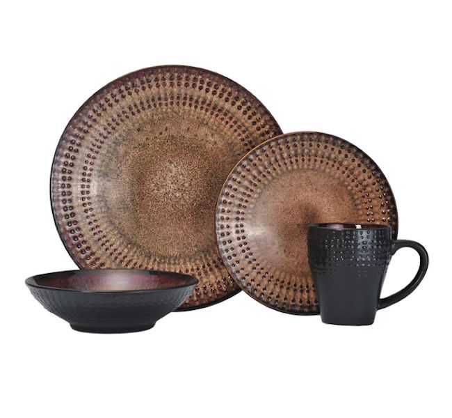 Everyday Dishes Dark Brown Dinnerware Set Earthtone Apartment Serves 4 16 Pieces #DinnerwareSet