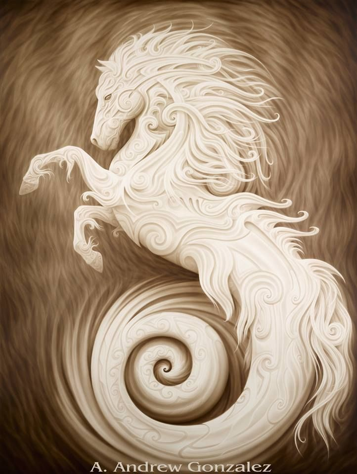 Beautiful nautical horse painting with swirls and scrolls. This is beautiful! Poseidon's Stallion by A. Andrew Gonzalez. Please also visit www.JustForYouPropheticArt.com for more colorful art you might like to pin. Thanks for looking!