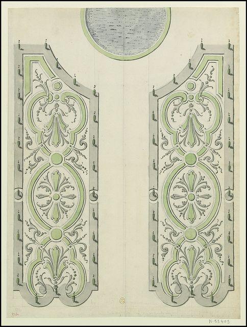 Partie de l'Hôtel de Villars à Paris, avec profils -- dessin du parterre du jardin, 1719   Flickr - Photo Sharing!
