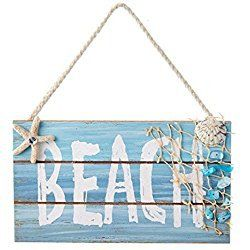 """WOODEN """"BEACH"""" SIGN WITH SHELL AND STARFISH ORNAMENT"""