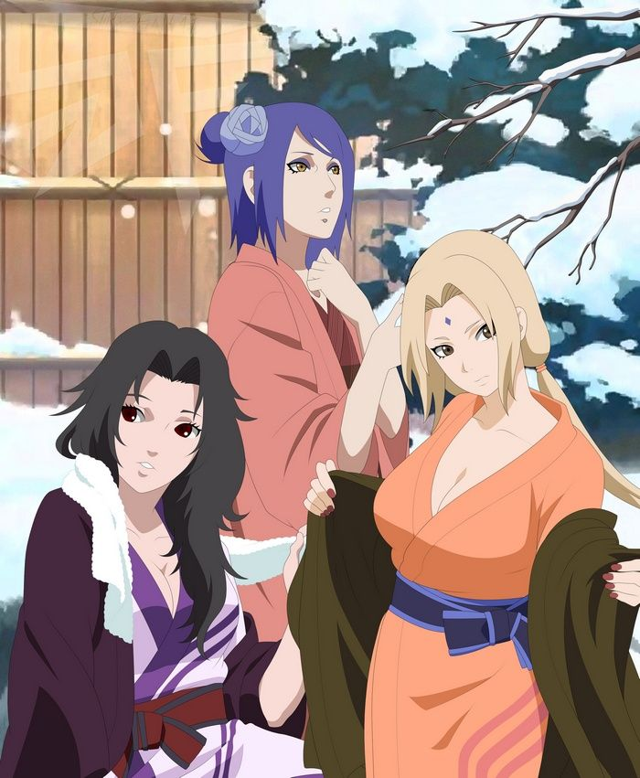 Yuhi Kurenai Anime Girls Tsunade Blonde Blue Hair Black