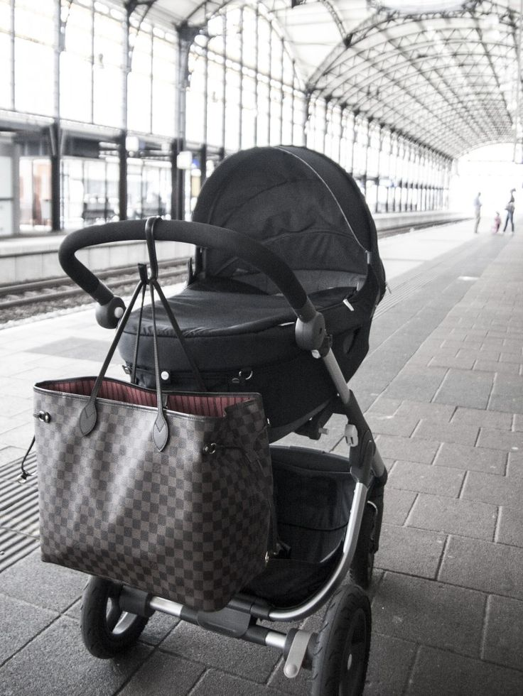Trailz Stokke Stroller Louis Vuitton Damier Neverfull with Ikea kitchen hook covered in leather