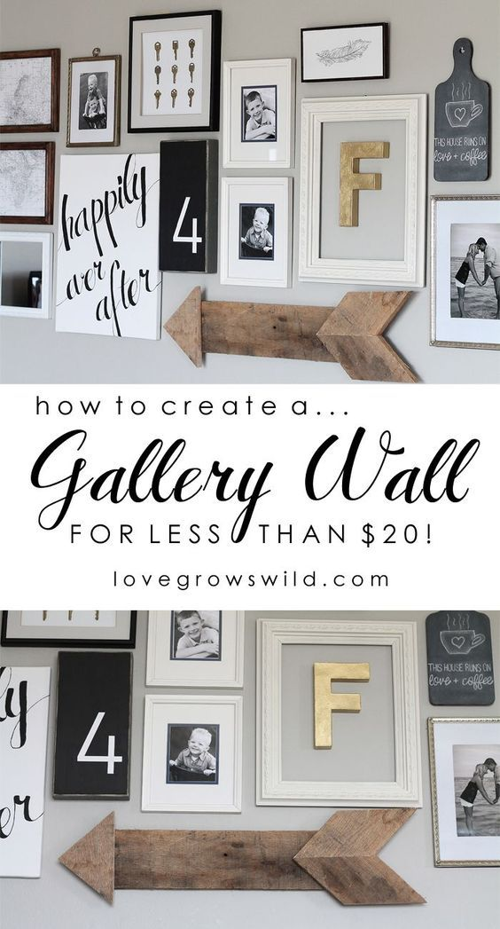 Learn how to create a fun, personal, and creative Gallery Wall for LESS THAN $20! You CAN decorate an entire wall on a tight budget! Click to see lots of inspiration photos PLUS my easy hanging trick at LoveGrowsWild.com