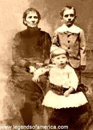 Jesse James's wife, Zee, and their children, Jesse Edwards and Mary Susan