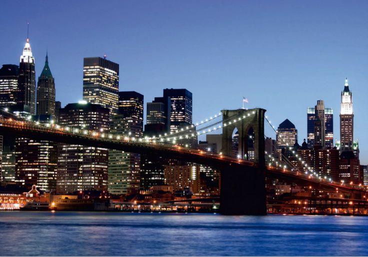 Fototapet Urban - Podul Brooklyn Noaptea - Produs