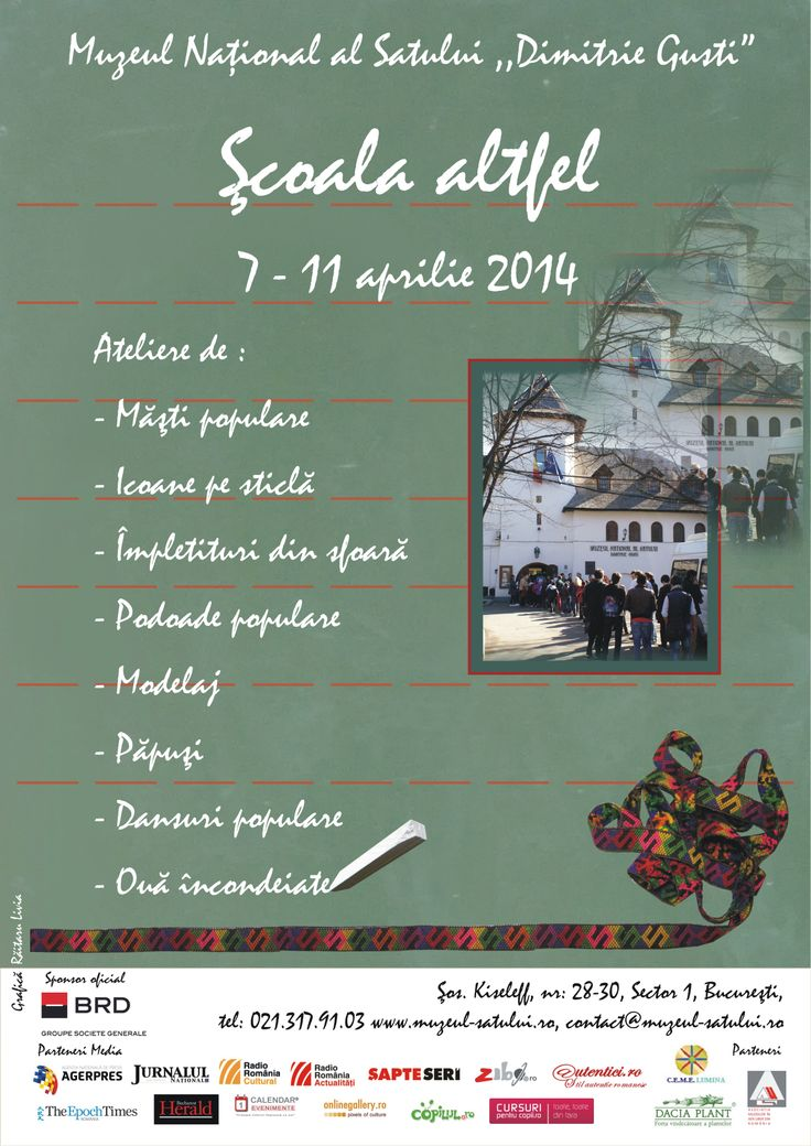 """Muzeul Naţional al Satului """"Dimitrie Gusti"""", desfăşoară în perioada 7 – 11 aprilie 2014, programul Săptămâna Altfel, dedicată activităţilor educative extracurriculare şi extraşcolare."""