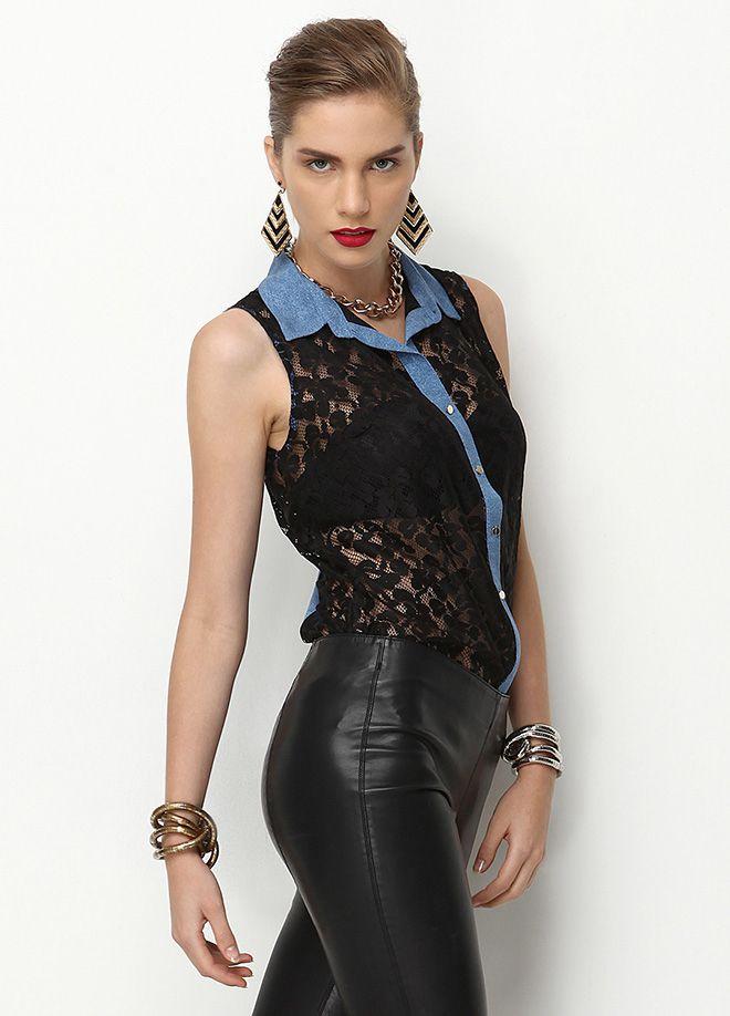 Stil Aşkı: Ofiste Neler Moda Dantel gömlek Markafoni'de 79,99 TL yerine 24,99 TL! Satın almak için: http://www.markafoni.com/product/4764306/ #fashion #shopping #fun #alisveris #bestoftheday #model #girl #dress #style #stylish #instafashion #officestyle #office #ofismodasi #markafoni