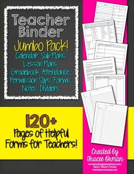 What every new teacher needs: Teacher Binder Jumbo Pack--Grade book templates, forms (permission slips, notes home, sub plans, etc.), lesson plan templates, calendar, and more! Why spend a ridiculous amount of money on a binder that you can only use for one year? Instead, you can download this zipped file that includes Word documents you can EDIT and CUSTOMIZE and use year after year after year. Only print the pages you want or use it for digital record-keeping.