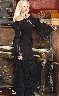 Black Off the Shoulder Top and Black Ruffled Long Skirt - Western Chic Fashion by Marrika Nakk   Texas Womens Western Wear