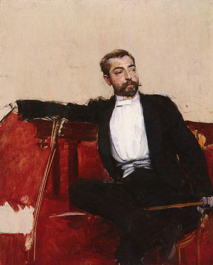 """Giovanni Boldini (1842-1931) L'uomo Dallo Sparato Oil on panel  27 x 22 cm (10½"""" x 8½"""") Private collection"""
