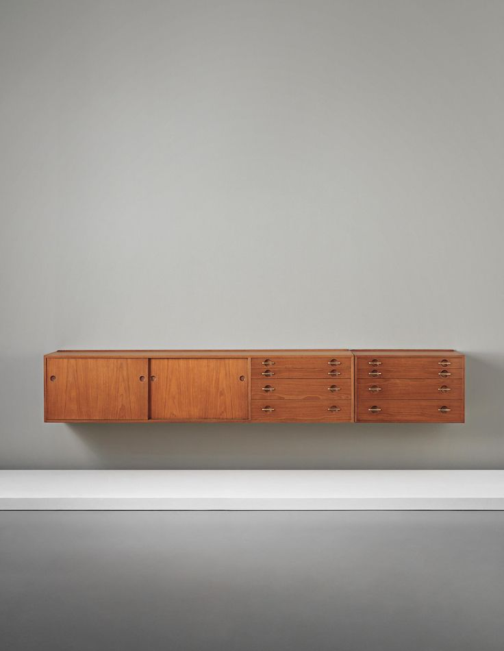 Hans J. Wegner; Teak, Oak and Brass Wall-Mounted Cabinet for Johannes Hansen…