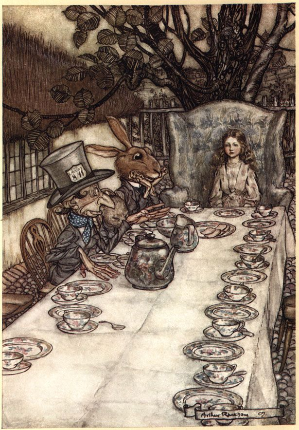 I love this....! Arthur Rackham's Alice in Wonderland Illustrations....Alice in Wonderland, Ill. by Arthur Rackham 1907....