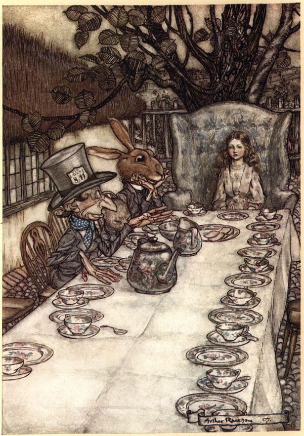 I love this....! Arthur Rackham's Alice in Wonderland Illustrations....Alice in Wonderland, Ill. by Arthur Rackham 1907....