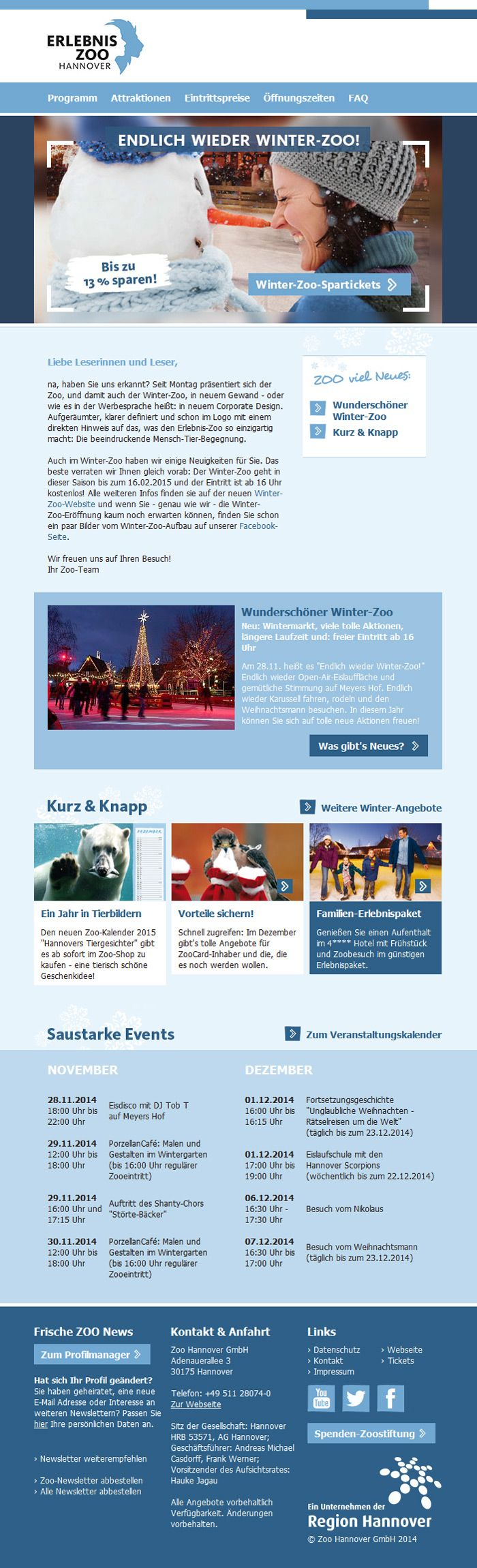 Der Zoo Hannover mit einem #Newsletter-Redesign made by mailingwork. #Newsletterdesign #Email #Emailmarketing