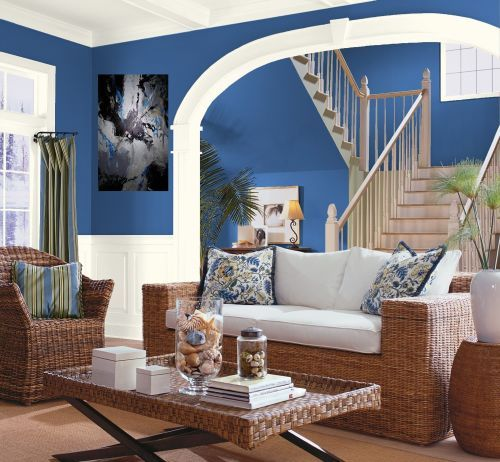 blue walls living room. How can I have different colored rooms without it looking garish?