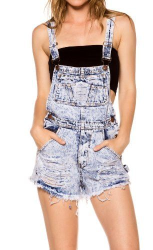 Juniors Acid Distressed Wash Jumper Romper Denim Overall Shorts